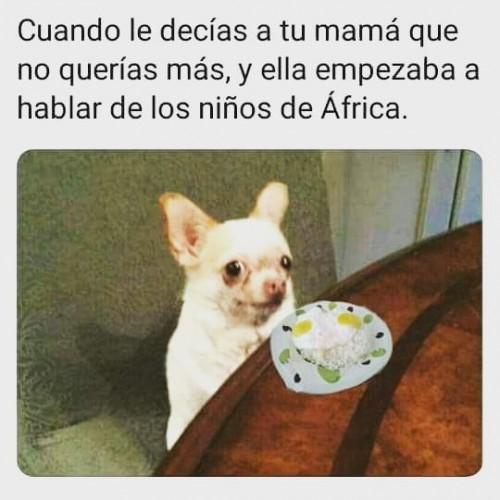Cuando le decias a tu mama que no querias mas, y ella empezaba a hablar de los nilos de africa