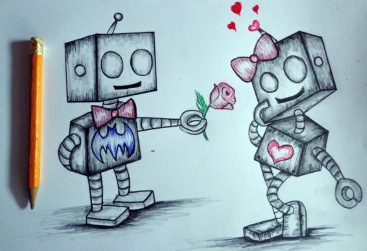 dibujo de robot enamorados